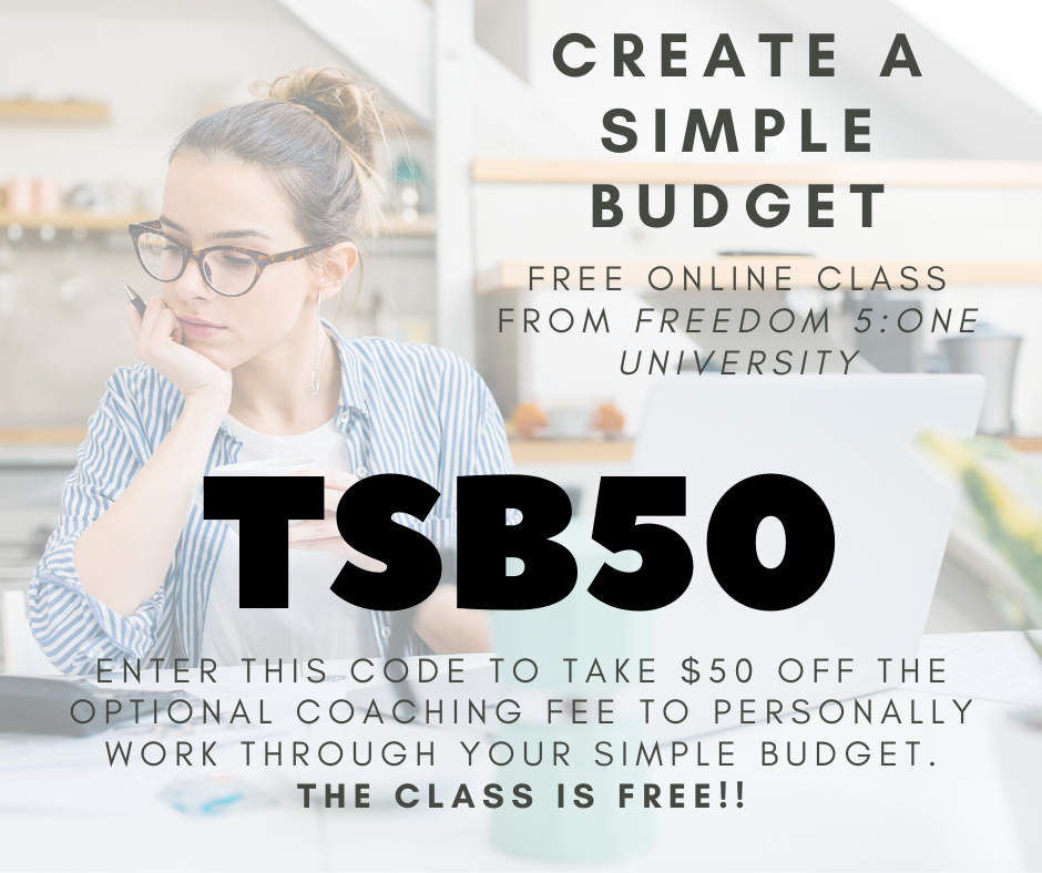 create a simple budget- fb coupon